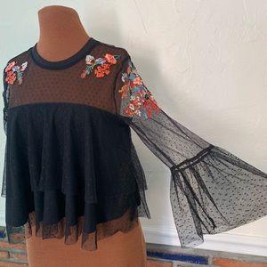 Bershka Tops - Bershka black toile floral top